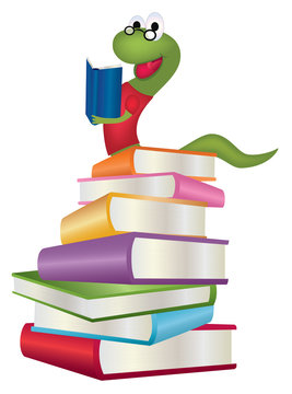 Stack of books with bookworm reading an open book