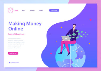 Vector making money online illustration, web landing page concept. Man sitting on earth, earning money with laptop. Successful business and freelance, raising funds, making investments
