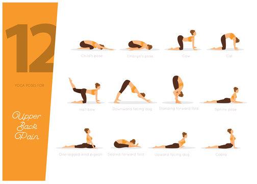 12 Yoga poses for upper back pain, vector illustration