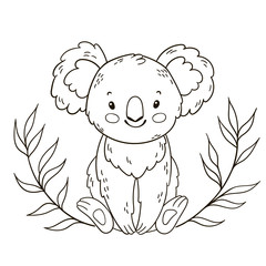 Cute Australian Koala Bear. Black and white outline illustration. Coloring book page.