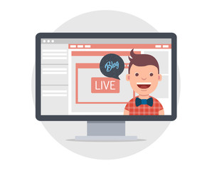 Vector illustration in modern flat style - video blogger concept - computer screen with video player - male vlogger broadcasting on his personal channel