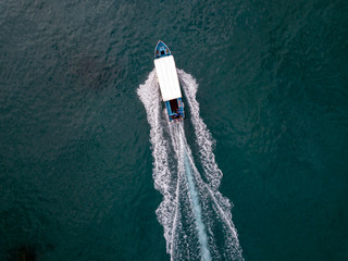 Indonesia, Bali, Aerial view of excursion boat