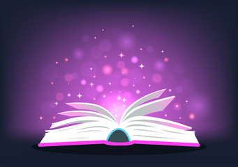 Magic book. Open book with magic lights. Vector illustration.