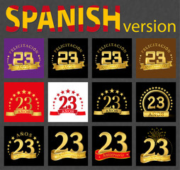 Spanish set of number twenty-three (23 years)