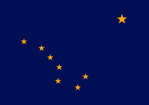 Vector flag of Alaska state. United States of America