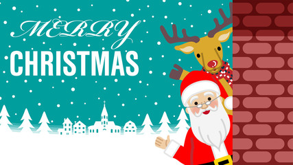 Waving hand - Santa Claus and Reindeer standing behind the brick wall, Merry Christmas message