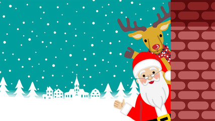 Waving hand - Santa Claus and Reindeer standing behind the brick wall