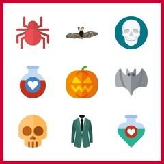 halloween icon. spider and pumpkin vector icons in halloween set. Use this illustration for halloween works.