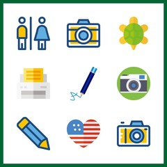 9 photo icon. Vector illustration photo set. united states and paper printer icons for photo works