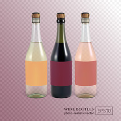 Red, white and rose wine bottles on transparent background. This wine bottles can be placed on any background.
