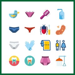 16 hygiene icon. Vector illustration hygiene set. bathing and bacteria icons for hygiene works