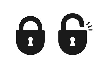 Black isolated icon of locked and unlocked lock on white background. Set of Silhouette of locked and unlocked padlock. Flat design. Fototapete