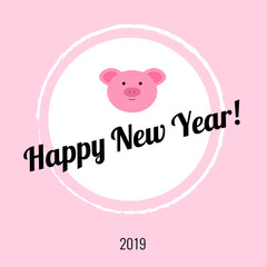 happy new year card with cute pig