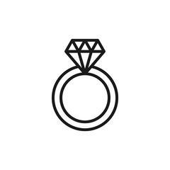 Black isolated outline icon of wedding ring with diamond on white background. Line Icon of wedding ring.