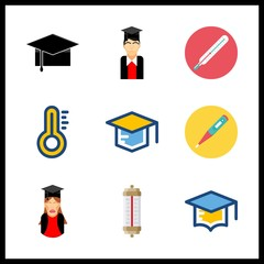 degree icons set. intelligence, background, measurement and tassel graphic works