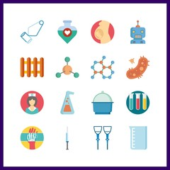 medicine icon. chemical and bacteria vector icons in medicine set. Use this illustration for medicine works.