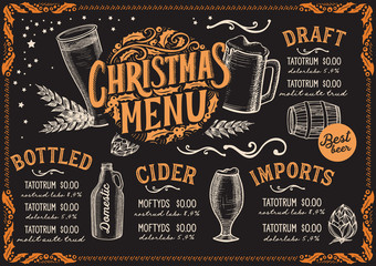 Christmas menu template for beer restaurant on a blackboard.