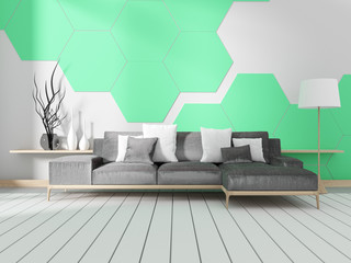 Room with sofa and mint hexagonal tile wall. 3D rendering
