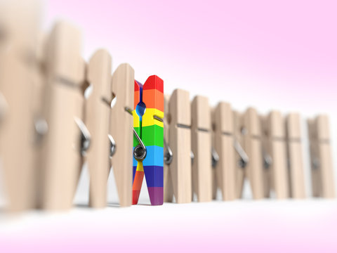 Discrimination concept of one clothespin in a group of other clothespins. 3d illustration