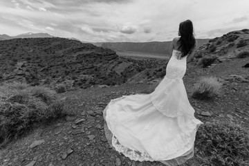 Asian/Vietnamese Bride in her wedding dress posing for wedding/engagement photo in the Utah desert near Moab.  Taken in front of Castleton Tower, Castle Valley.