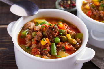 Delicious hamburger soup with vegetables