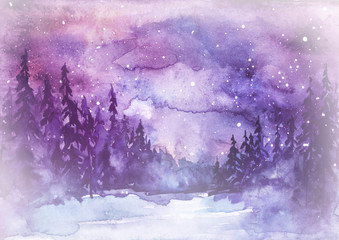 Watercolor painting, illustration, greeting card. fog Forest, suburban landscape, silhouettes of fir trees, pines, trees and bushes, the night sky with stars. Blue, purple color.