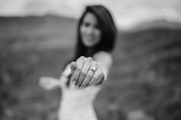 Asian/Vietnamese Bride posing with her wedding ring in the Utah Desert