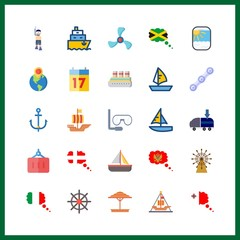 boat icon. seventeen and chain vector icons in boat set. Use this illustration for boat works.