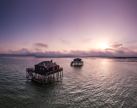 Fishermen houses in Bassin Arcachon, Cabanes Tchanquees, Aerial view, France