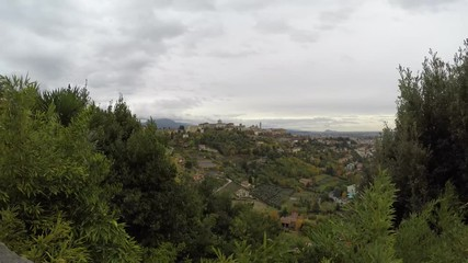 Fotomurales - Bergamo old town city scape in a cloudy day - italian travel destinations - time lapse