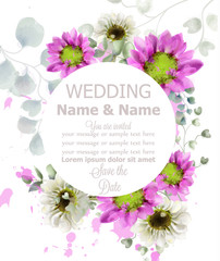 Spring flowers round frame watercolor Vector. Wedding card. Beautiful vintage pastel colors floral decor banners