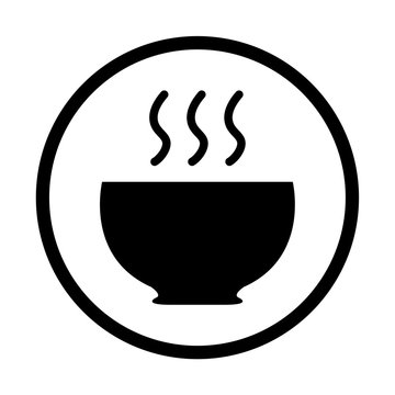 Hot meal cup steamy bowl food court logo. Food point sign. Food court icon.