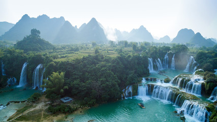 """Aerial view of """" Ban Gioc """" waterfall, Cao Bang, Vietnam. """" Ban Gioc """" waterfall is one of the top 10 waterfalls in the world."""