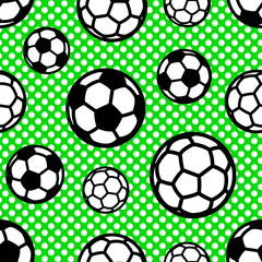Seamless vector pattern with soccer balls on background with small green circles circles