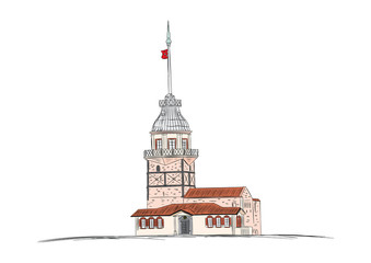 maiden's tower istanbul, girl tower hand drawn colored illustration vector