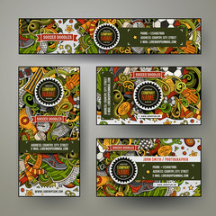 Corporate Identity vector templates set with doodle Soccer theme