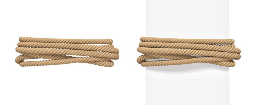 3d rendering of brown rope bound around a wide white post and around empty space.