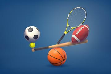 3d rendering of a baseball bat balances on a basketball ball and holds tennis ball, racquet, American football and soccer balls.