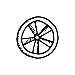 wheel icon. sketch isolated object black