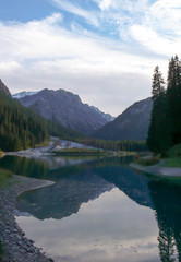 Wall Mural - beautiful mountain lake and landscape in the Swiss Alps near Arosa in late autumn with fall colors