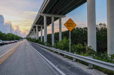 Overseas highway to Key West island, Florida Keys, Florida, USA - July 15, 2018: Bottom view of the Overseas Highway with a warning sign for crocodiles passing