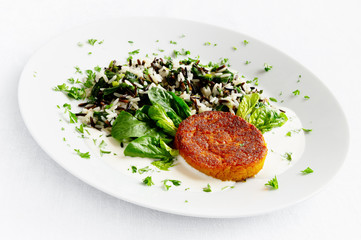 carrot cutlet with sour cream and mayo sauce garnished with rice mix, spinach, green onion, and parsley