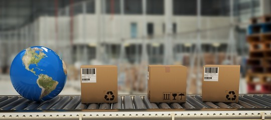 Composite image of boxes and globe on conveyor belt