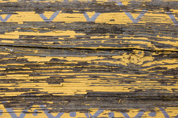 Yellow Barn Wooden Wall Planking Horizontal Texture. Old Wood Slats Rustic Shabby Empty Background. Paint Peeled Brown Weathered Isolated Surface. Natural Wood Board Panel Grungy Facade Wallpaper