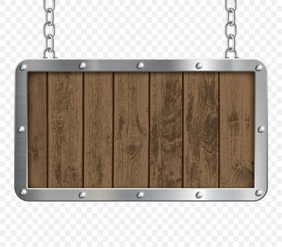 Retro signboard made of metal and wood hanging on chains.