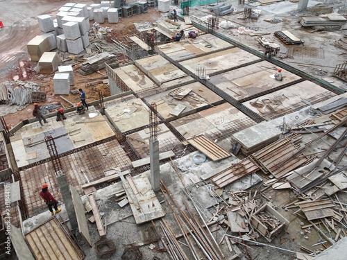 KUALA LUMPUR, MALAYSIA -JUNE 6, 2018: Timber form work made from