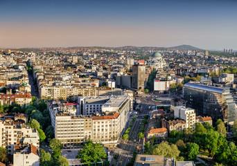 Belgrade, Slavia Square, Vracar, Avala Mountain aerial afternoon view