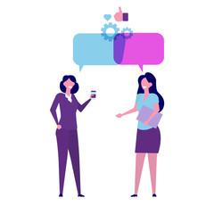 Businessmen discuss social network, news, chat, dialogue speech bubbles. Vector illustration.