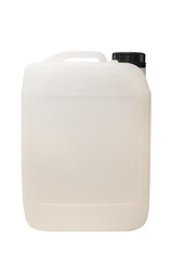White plastic gallon, jerry can isolated on a white background. Clipping path