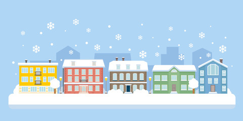 Winter city snowy landscape. Vector illustration